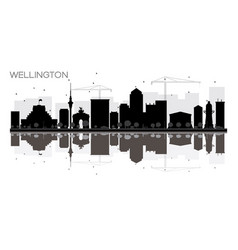 wellington city skyline black and white vector image vector image