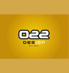 022 number numeral digit white on yellow vector