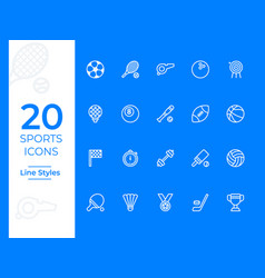 20 sports icon sports symbol modern simple vector image