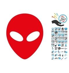 Alien Head Icon with 2017 Year Bonus Pictograms vector