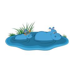 animals zoo hippo family vector image