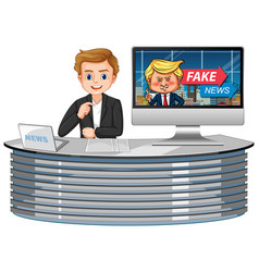 announcer with fake news on tv or computer vector image
