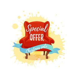 armchair colorful cartoon sale vector image