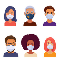 Avatars different people in medical face mask vector