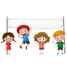 banner template with four happy kids vector image
