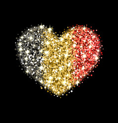 belgium flag sparkling heart badge vector image