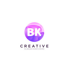 Bk initial logo with colorful circle template vector