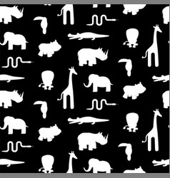 Black and white animal silhouettes seamless vector