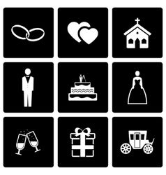 Black wedding icon set vector
