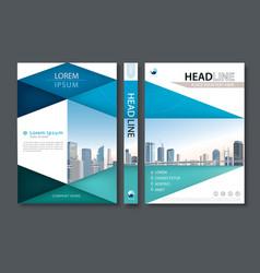 blue green flyer design template leaflet cover vector image