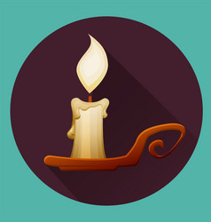 Burning cartoon candle in candlestick happy vector