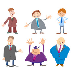 Businessmen or men cartoon characters collection vector