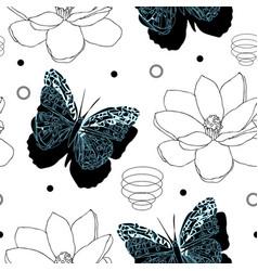 butterflies and magnolia flowers-butterfly garden vector image