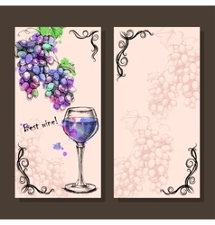 Card menu of sketch grapes wine bottle vector image