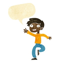 Cartoon excited boy dancing with speech bubble vector