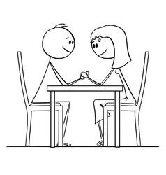 cartoon loving couple man and woman sitting vector image