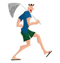 Cartoon man walking with butterfly net vector