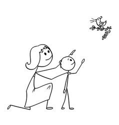 Cartoon of mother and son watching a wild bird in vector