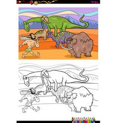 cartoon prehistoric characters coloring book vector image