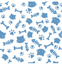 Cat boy pattern blue paw animal footprints and vector