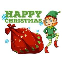 Christmas theme with elf and present bag vector