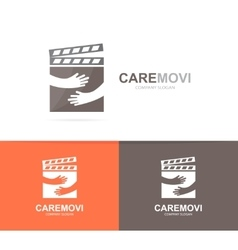Clapperboard and hands logo combination vector