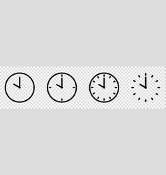 clock icons set line art style time symbol vector image