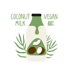 coconut milk in a cartoon bottle vegan milk vector image