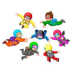 Collection of skydiving with different position vector