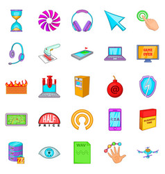 Computer literacy icons set cartoon style vector