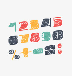 cute bold font numbers set vector image