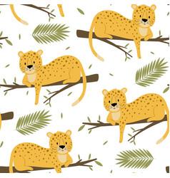 cute leopard seamless pattern print design vector image