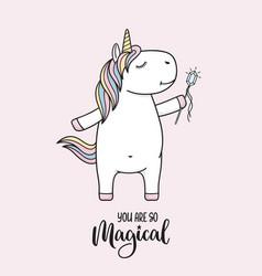Cute unicorn with magic wand vector