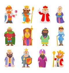 Different cute cartoon kings characters set vector