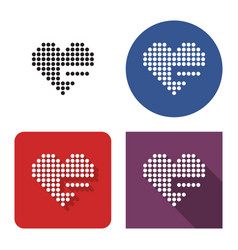 Dotted icon heart with minus sign remove from vector