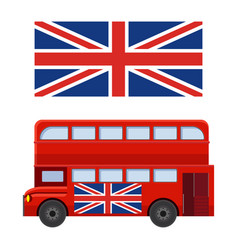 double decker bus with flag great britain vector image