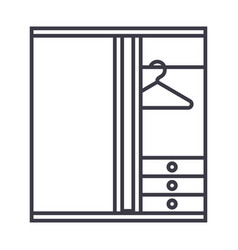 Dressing room line icon sign vector