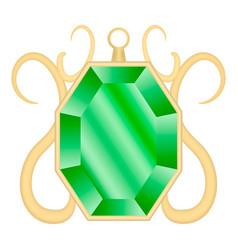 Emerald gemstone mockup realistic style vector