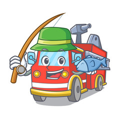 Fishing fire truck mascot cartoon vector