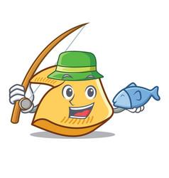 Fishing fortune cookie mascot cartoon vector