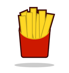 french fries in paper box isolated icon fast vector image