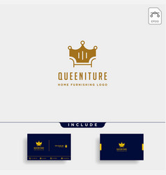 Furniture logo design with gold color icon icon vector