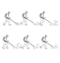 gardener with leaf blower walk sequence drawing vector image