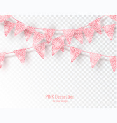 Glitter pink party flags decoration with confetti vector