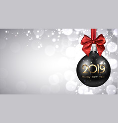 grey 2019 new year background with black christmas vector image