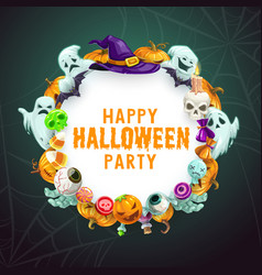halloween trick or treat party witch monsters vector image