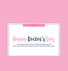 Happy doctor day card flat vector