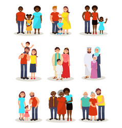 Happy families of different nationalities from vector
