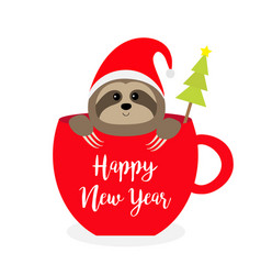 happy new year sloth sitting in red coffee cup vector image