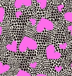 Hearts on animal spots print - seamless background vector